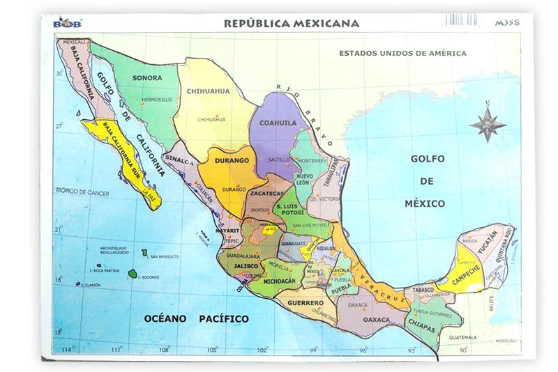 Rompecabezas Mapa De México Wiwi Didácticos De Mayoreo Wiwi